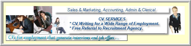 cvs for sales, marketing, accounting, admin and clerical..