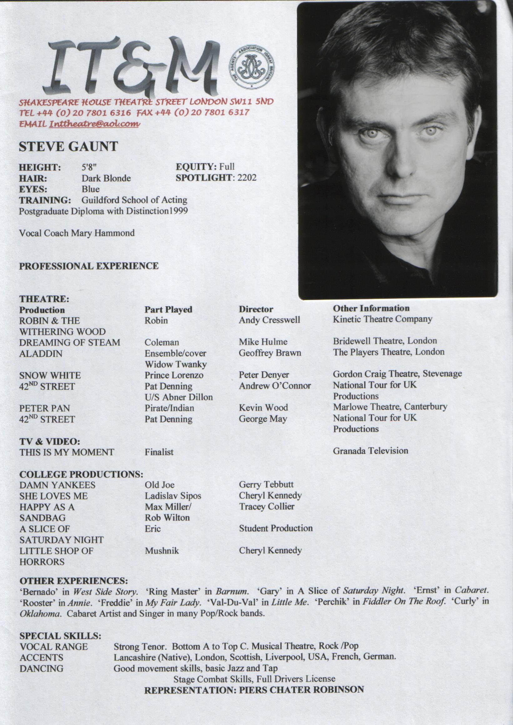 sample actor resume